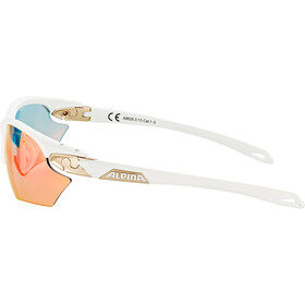 Alpina Twist Five HR S QVM+ Lunettes, white matt-silver/rainbow mirror